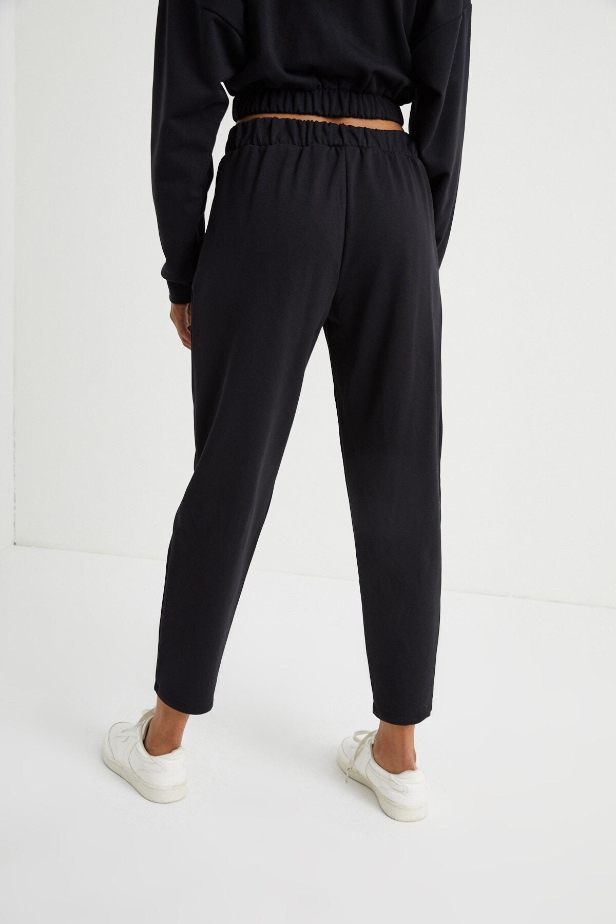 Curly Store Kadın Siyah Cepli Jogger Pantolon 2