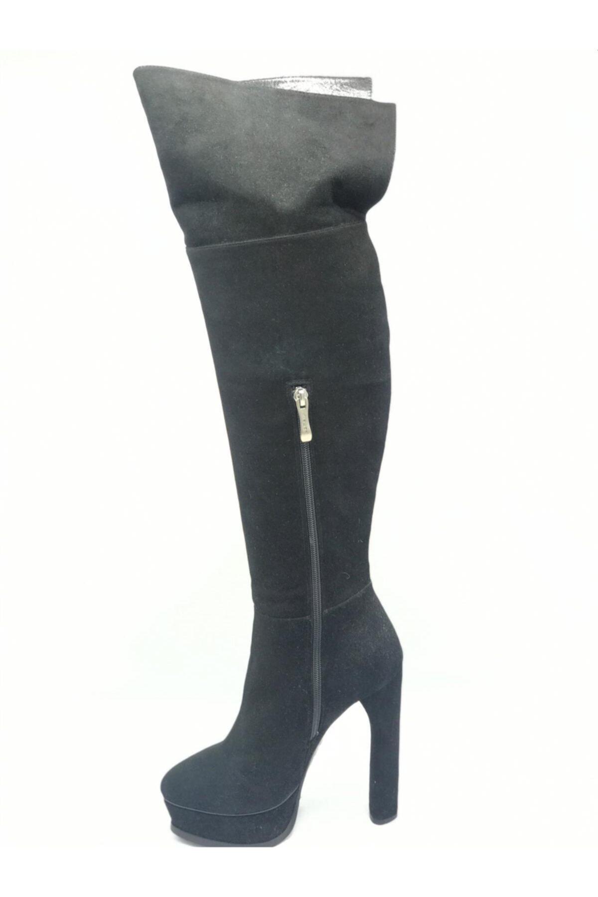 Flower Kadın Siyah Süet İnce Topuklu Çizme 2
