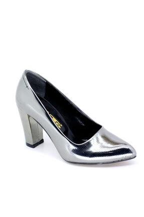 PUNTO Kadın Platin Abıye Kalın Topuk Ayakkabı 425013