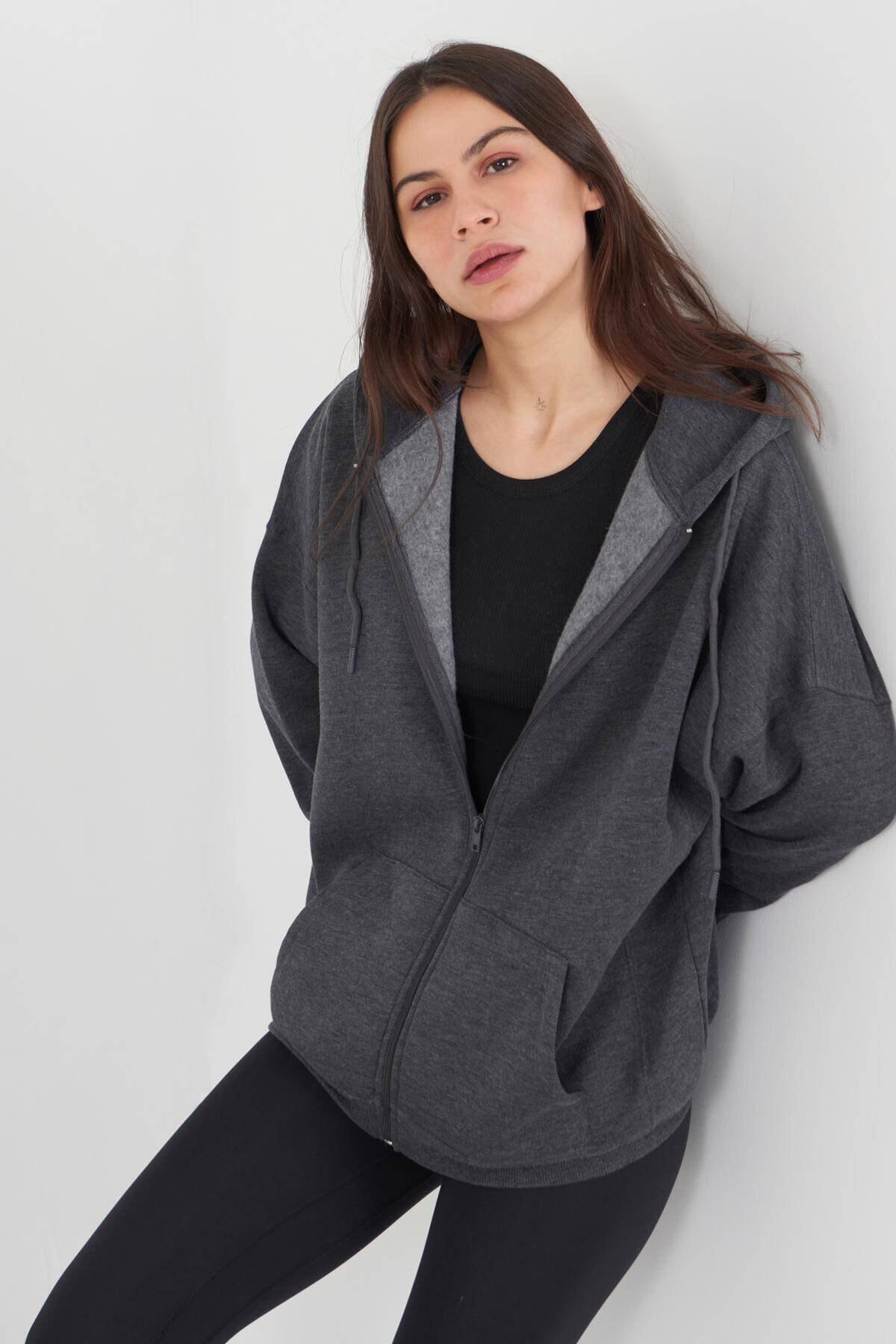 Addax Kadın Antrasit Kapüşonlu Uzun Hırka H0725 - W6W7 Adx-0000020316 1