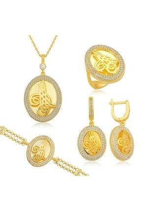 Gumush Kadın Altın Renk Çerçeveli Gümüş Tuğra Set