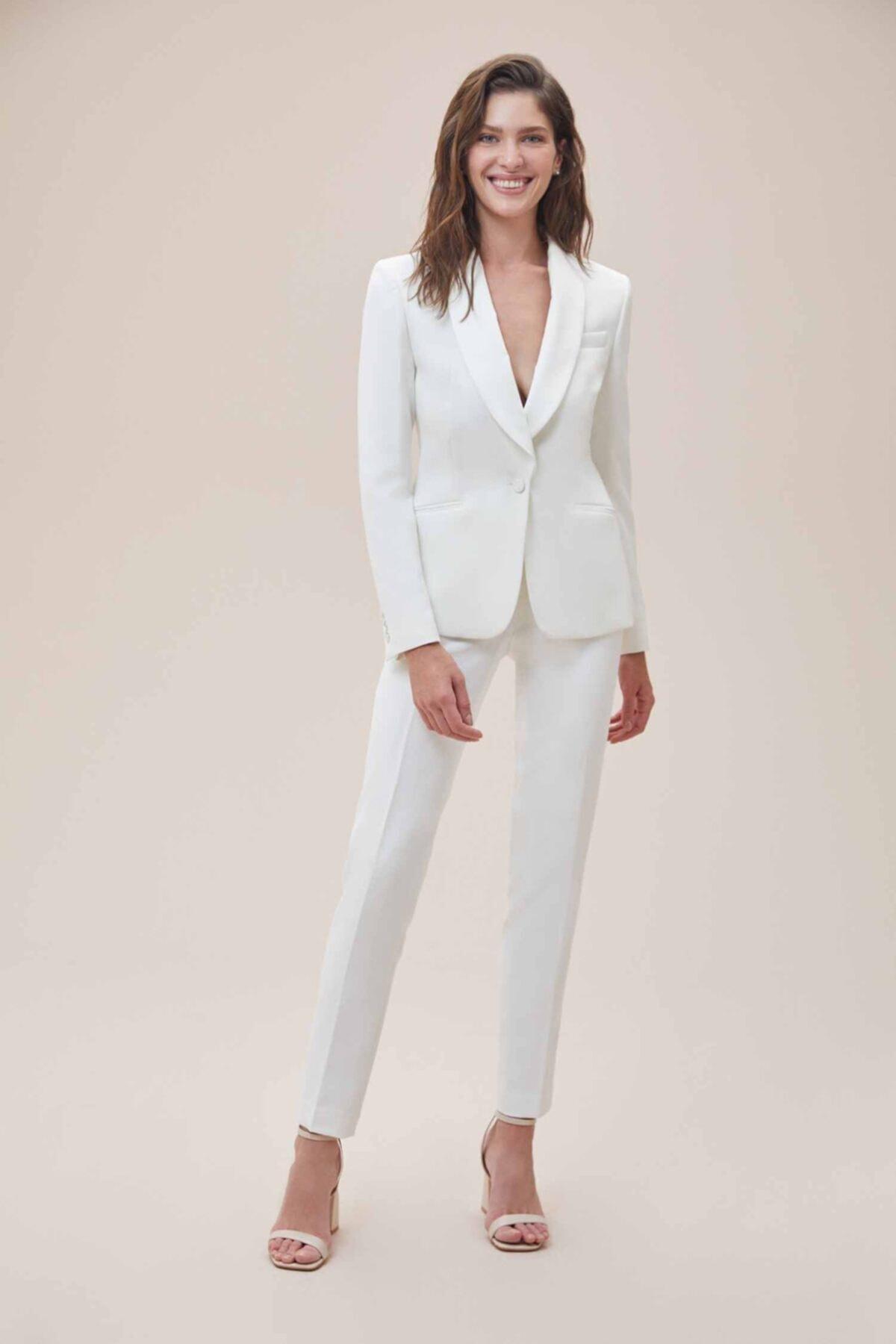 Oleg Cassini Beyaz Dar Kesim Krep Takım Elbise Gelinlik Ceketi 2
