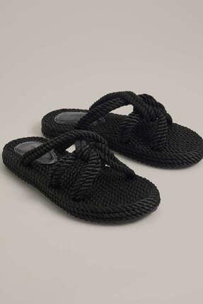 Oysho Kadın Siyah Bantlı Kumaş Terlik