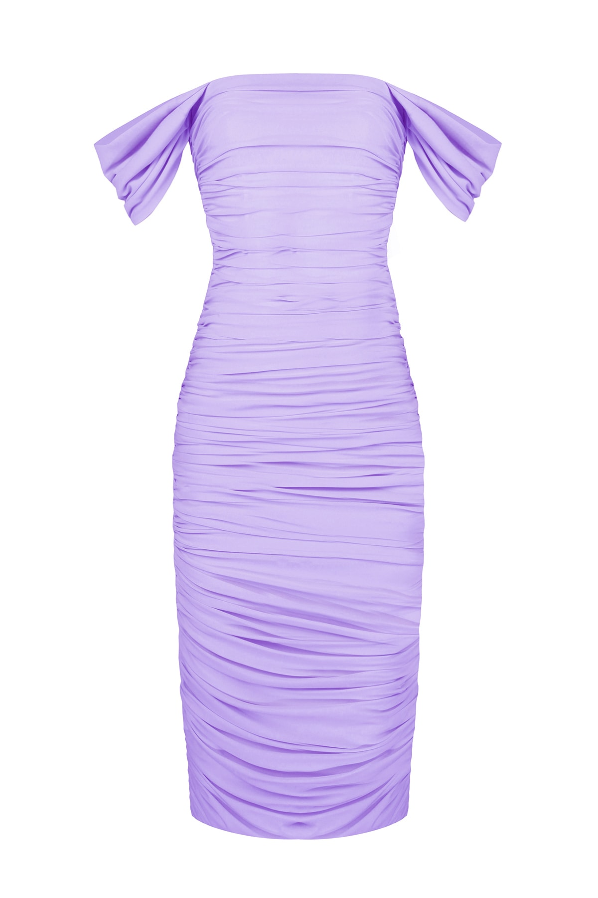 Whenever Company Kolları Degajeli Drapeli Midi Bridal Elbise 1