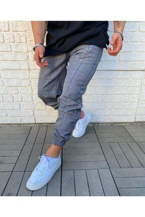 Cocers Erkek Gri Ekoseli Lastik Paçalı Şalvar Pantolon