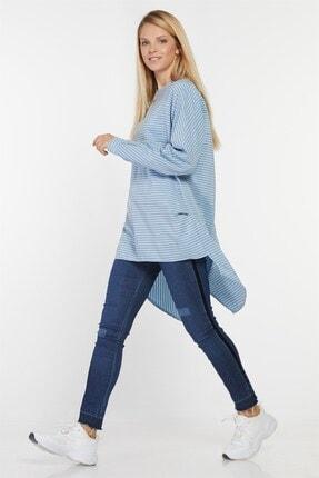Nihan Kadın Açık Mavi Doğal Kumaş Çizgili Tunik