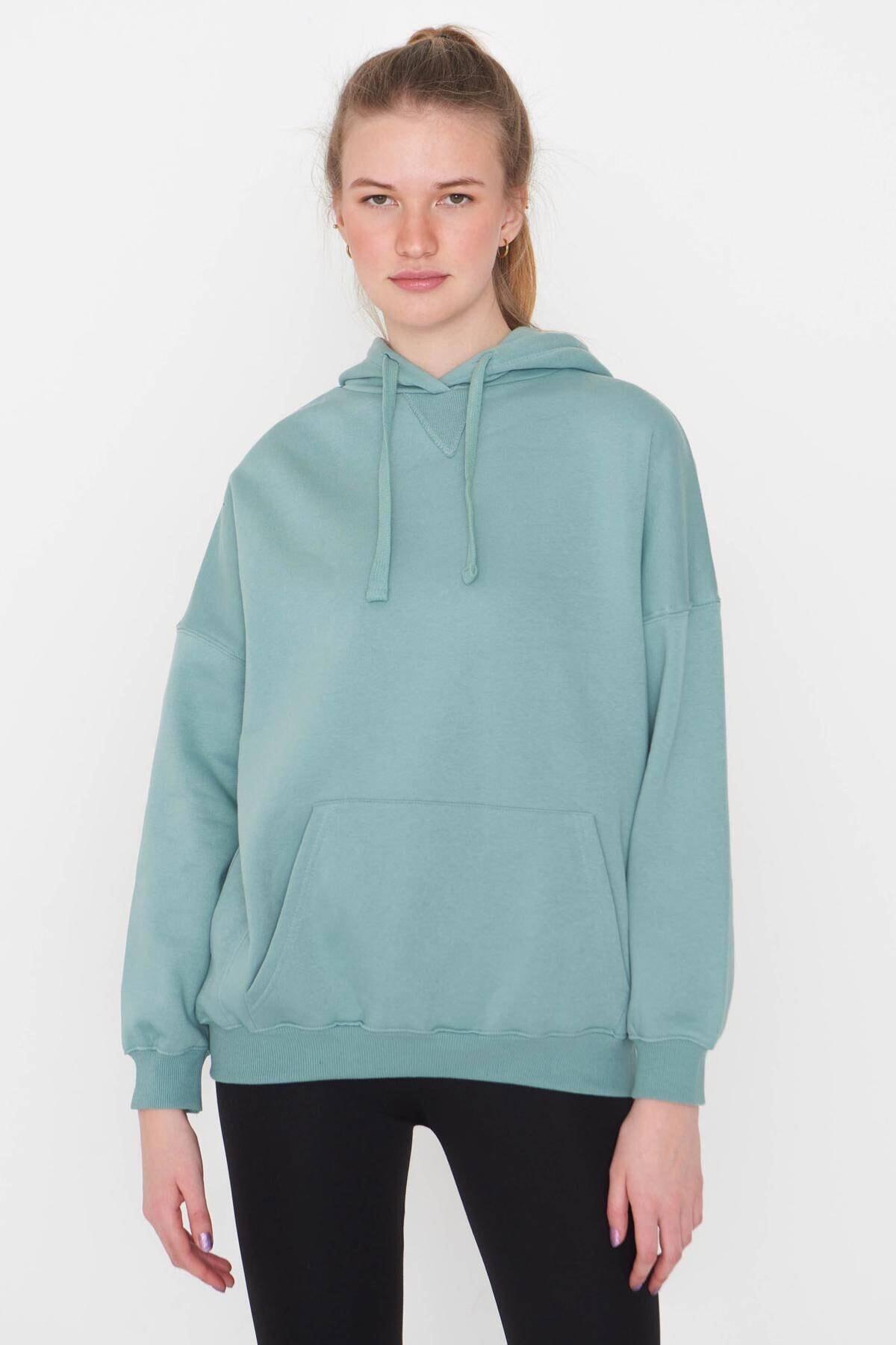 Addax Kadın Mint Kapüşonlu Sweatshirt S0519 - P10V1 Adx-0000014040 2