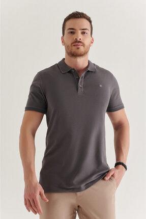 Avva Erkek Antrasit Polo Yaka Düz T-shirt A11b1146