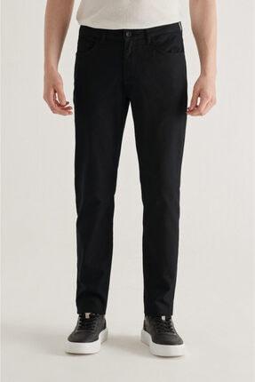 Avva Erkek Siyah 5 Cepli Armürlü Slim Fit Pantolon A11y3031