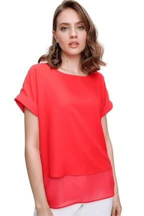 butikburuç Kadın Kırmızı Astarlı Kısa Kol Bluz