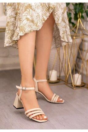 Öncerler Ayakkabı Kadın Ten 3 Bant Kadın Topuklu Ayakkabı