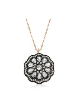 Gumush Gümüş Çiçek Desenli Elmas Montür Kolye