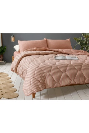 English Home Comfy Stripe İpliği Boyalı Tek Kişilik Uyku Seti 160x220 Cm Tarçın