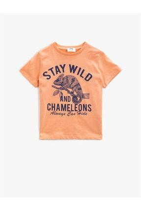 Koton Kids Erkek Çocuk Pembe Yazılı Kısa Kollu Pamuklu Bisiklet Yaka T-Shirt