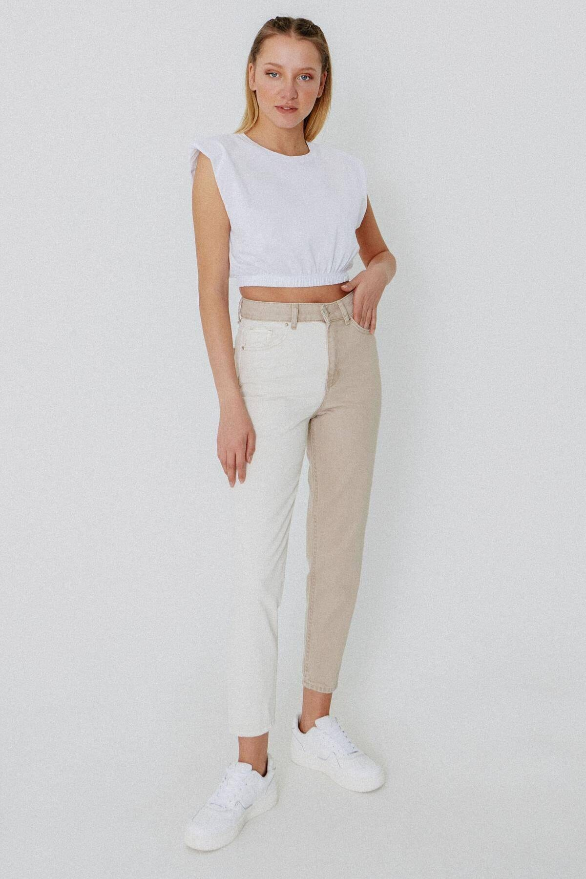 Addax Kadın Bej Beyaz Çift Renkli Pantolon PN1133 - PNM ADX-0000024053