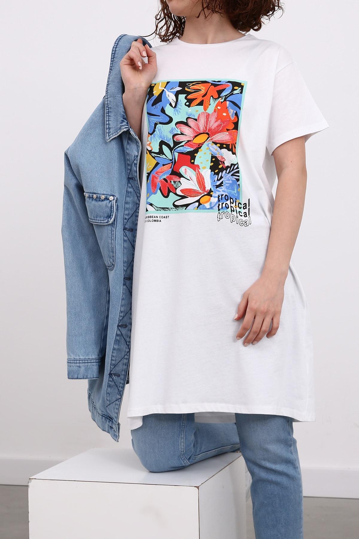 Ekrumoda Beyaz-Su Yeşili Kısa Kollu Baskılı T-shirt 1