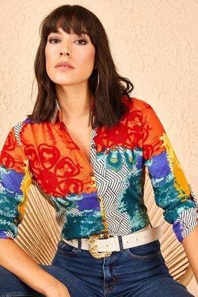 Bianco Lucci Kadın Multi Desenli Kol Katlamalı Şeritli Gömlek