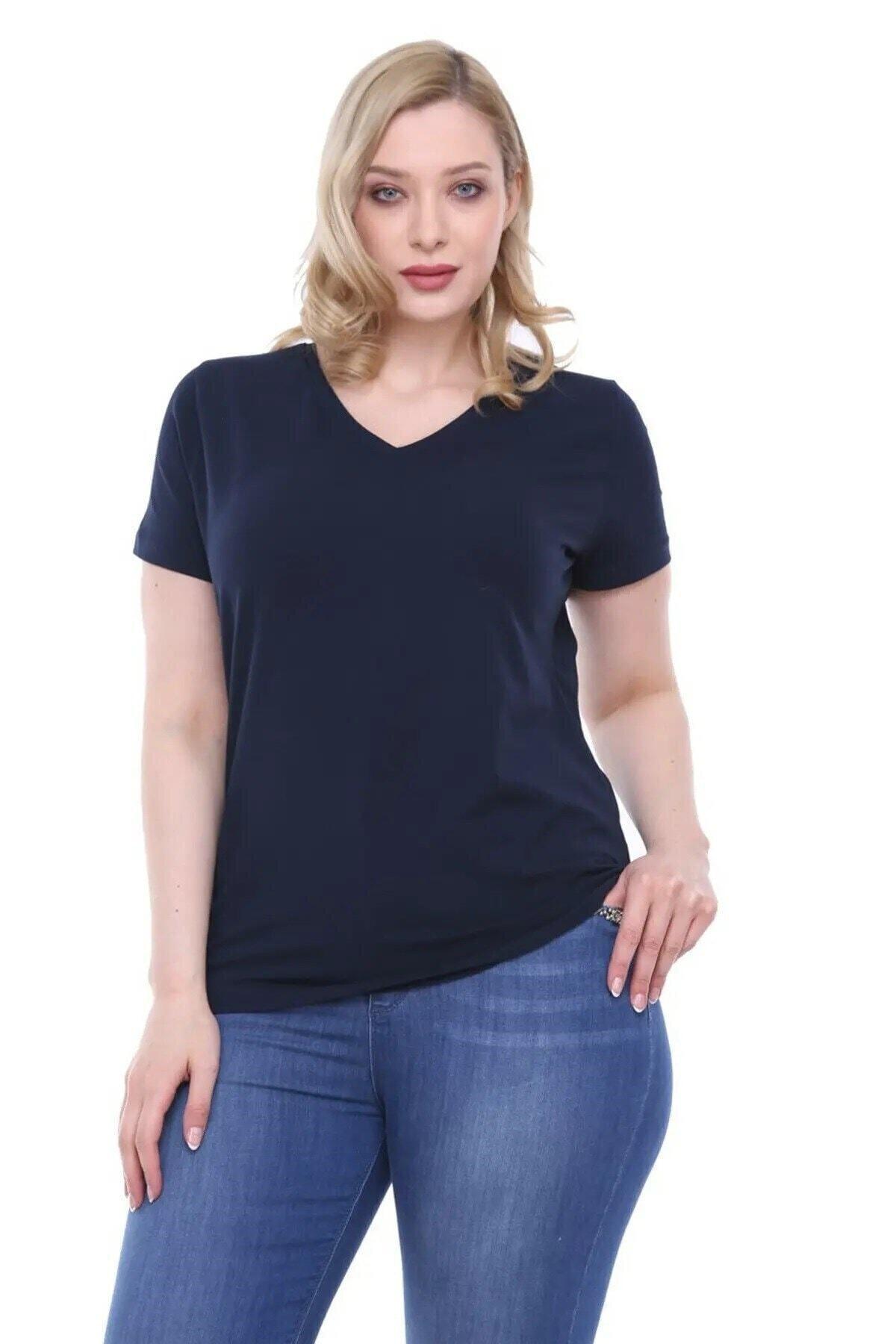 RMG Kadın V Yaka T Shirt Lacivert 1
