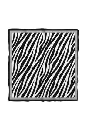Modabutik Kadın Siyah Beyaz Zebra Desenli 50x50 Bandana Hyl Dg0567-22