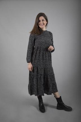 fk pynapple Kadın Siyah Puantiyeli Elbise