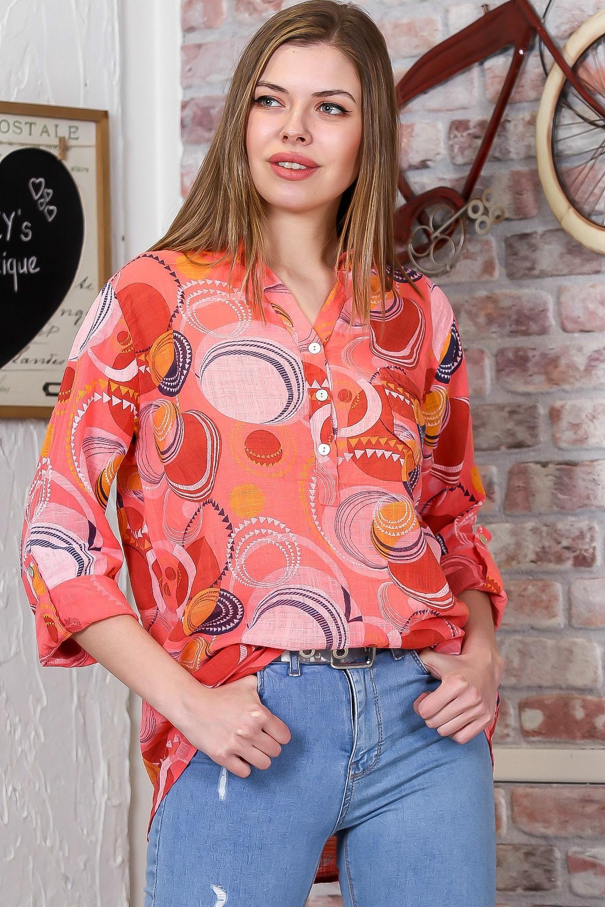 Chiccy Kadın Turuncu İtalyan Geometrik Desenli Patı Düğme Detaylı 3/4 Kol Ayarlı Bluz M10010200BL95498