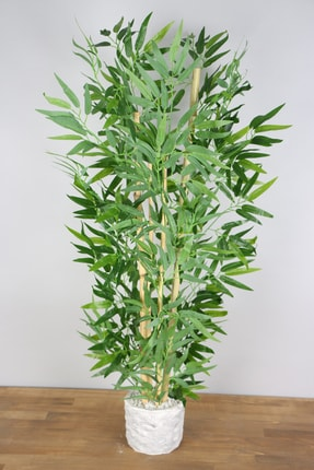 Yapay Çiçek Deposu Beton Saksıda Bambu Ağacı Koyu Yeşil 110 Cm