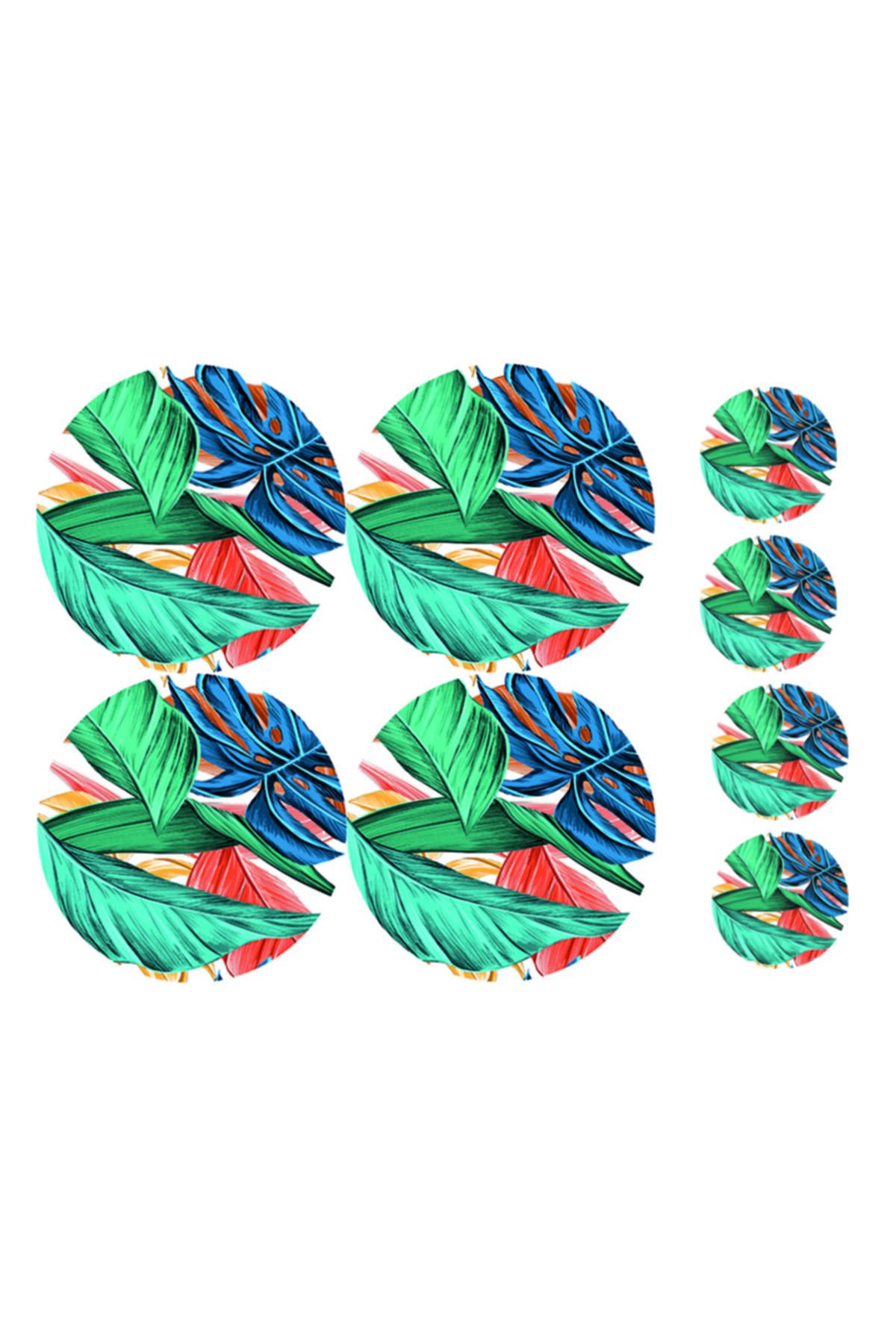 ELF Desıgn Tropik Yaprak Desenli Amerikan Servisi 4 Lü Set Supla (4 ADET ÇAY TABAK ALTLIĞI) 2