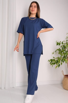 Cappmoda Kadın Mavi Salaş Yırtmaç Detaylı Ve Ispanyol Pantolon Kaşkorse Ikili Takım