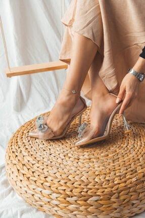 SHOEBELLAS Kadın Şeffaf Topuklu Ayakkabı