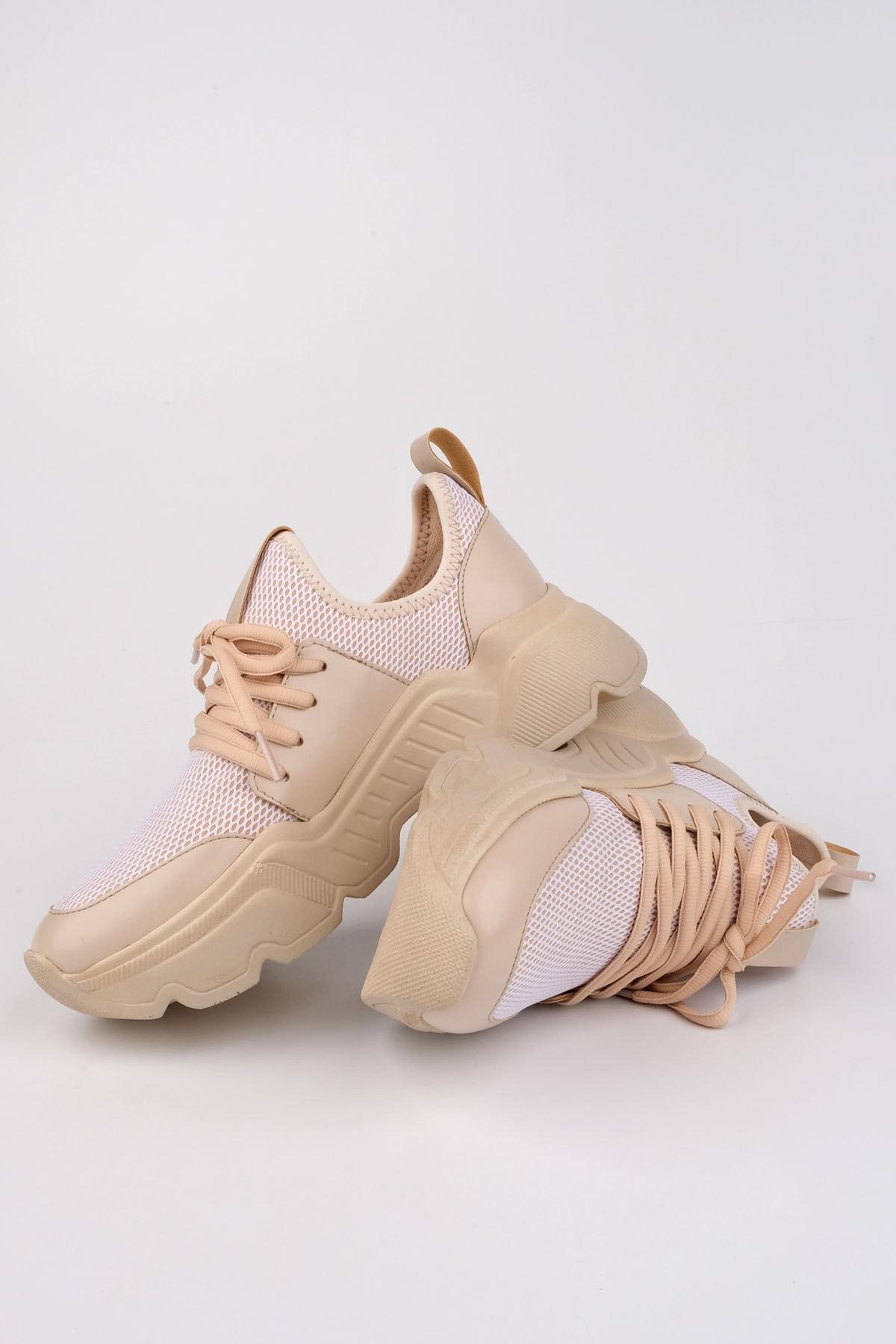 Marjin Kadın Bej Sneaker Dolgu Topuk Spor Ayakkabı Farida 1
