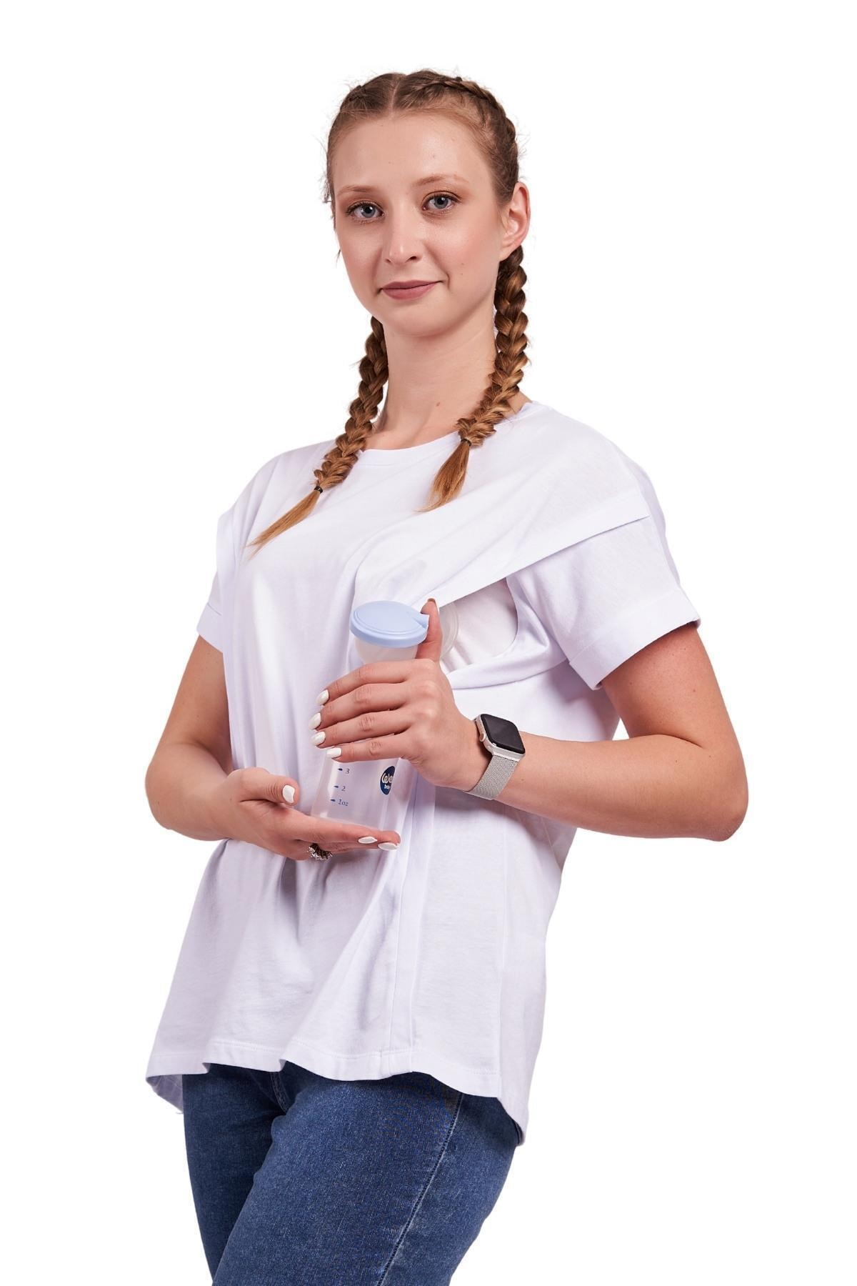 Mamma Lattes Hamile Ve Emzirme Tişörtü %100 Pamuk Oversize Geniş Kalıp Beyaz 1