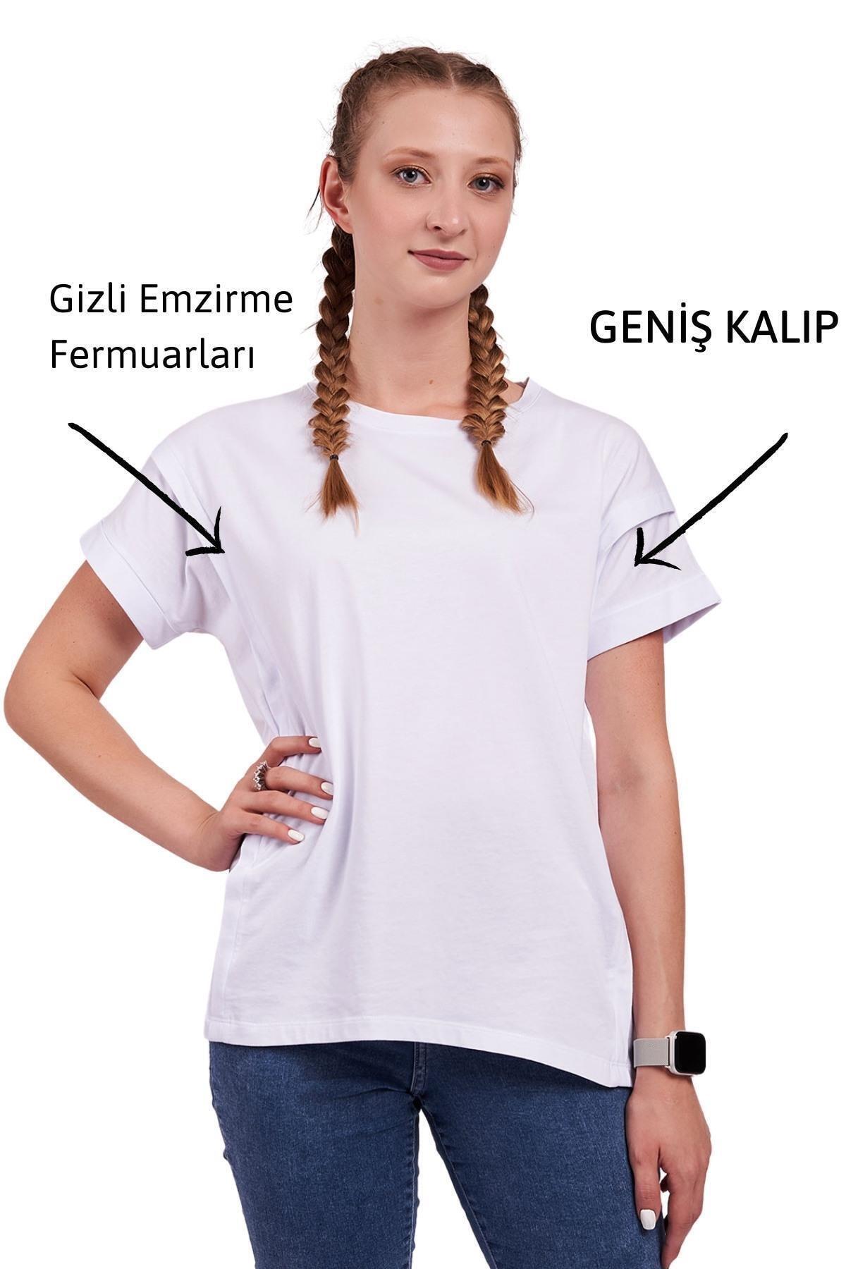 Mamma Lattes Hamile Ve Emzirme Tişörtü %100 Pamuk Oversize Geniş Kalıp Beyaz 2