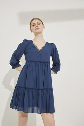adL Kadın Lacivert Dantel Detaylı V Yaka Pamuk Elbise