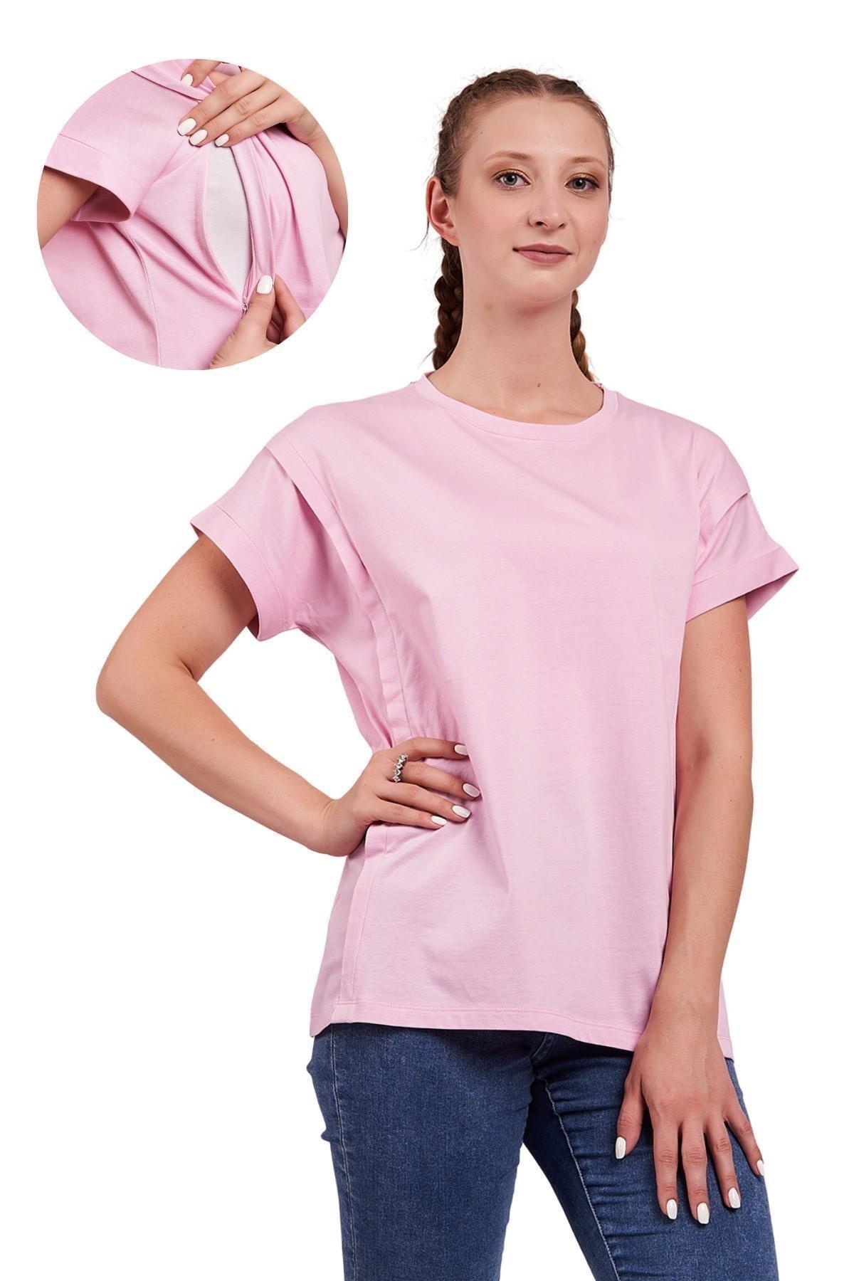 Mamma Lattes Kadın Pembe Oversize Pamuklu Hamile Ve Emzirme T-Shirt 1