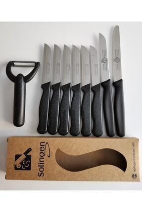 Solingen Meyve Bıçağı,doğrama Bıçağı Ve Düzsoyacak Simli Siyah Set