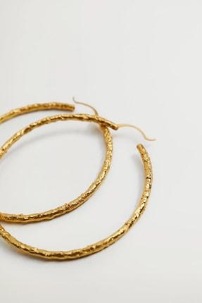 MANGO Woman Kadın Altın Sarısı Kabartmalı Halka Küpe 87012519