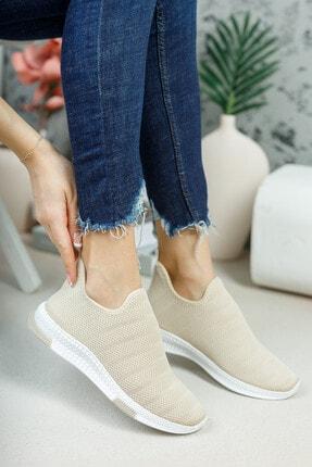 meyra'nın ayakkabıları Kadın Krem Çorap Sneaker