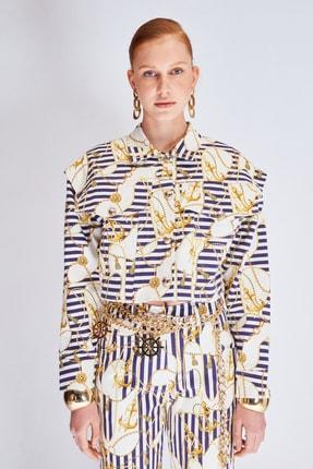 Raisa&Vanessa for Trendyol Beyaz-Çok Renkli Marin Desenli Gabardin Crop Ceket TDPSS21CE0062