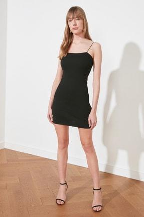 TRENDYOLMİLLA Siyah Askılı Bodycon Mini Örme Elbise TWOSS21EL2327