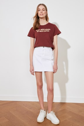 TRENDYOLMİLLA Kahverengi Baskılı Basic Örme T-Shirt TWOSS20TS0267