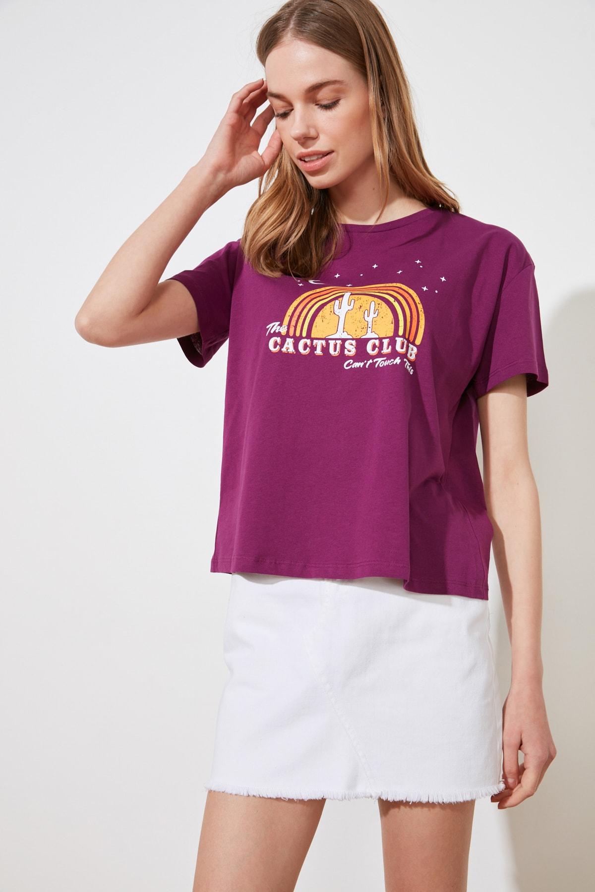 TRENDYOLMİLLA Mor Baskılı Semi Fitted Örme T-Shirt TWOSS20TS0804 2