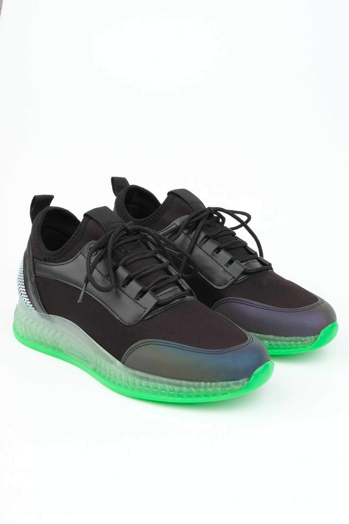 Marjin Kadın Siyah Sneaker Streç Spor Ayakkabı Monle 1