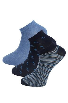 DeFacto Erkek Mavi Desenli 3'lü Patik Çorap