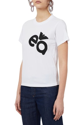 Emporio Armani Kadın Baskılı Bisiklet Yaka Pamuklu T Shirt