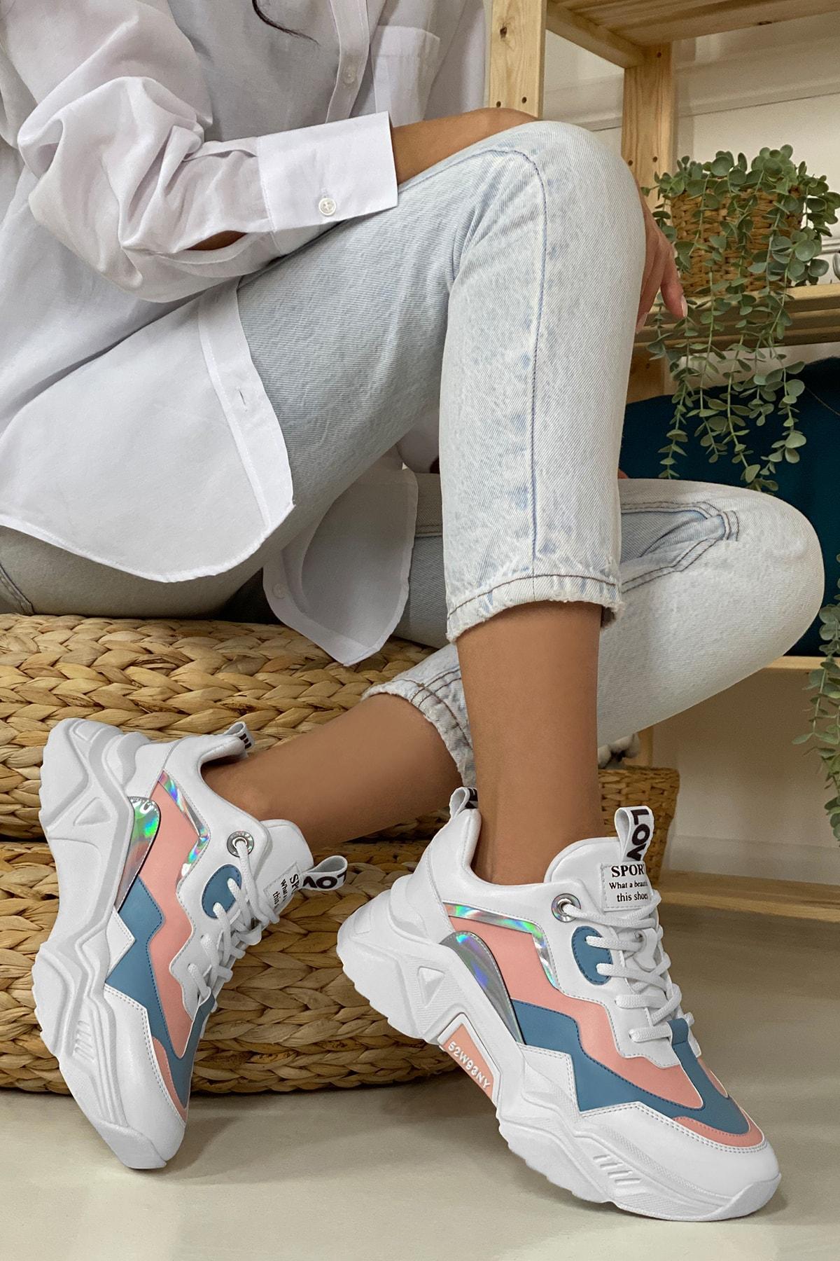 DARK SEER Kadın Mavi Beyaz Sneaker 1