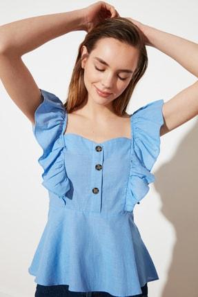 TRENDYOLMİLLA Mavi Düğme Detaylı Bluz TWOSS20BZ1268