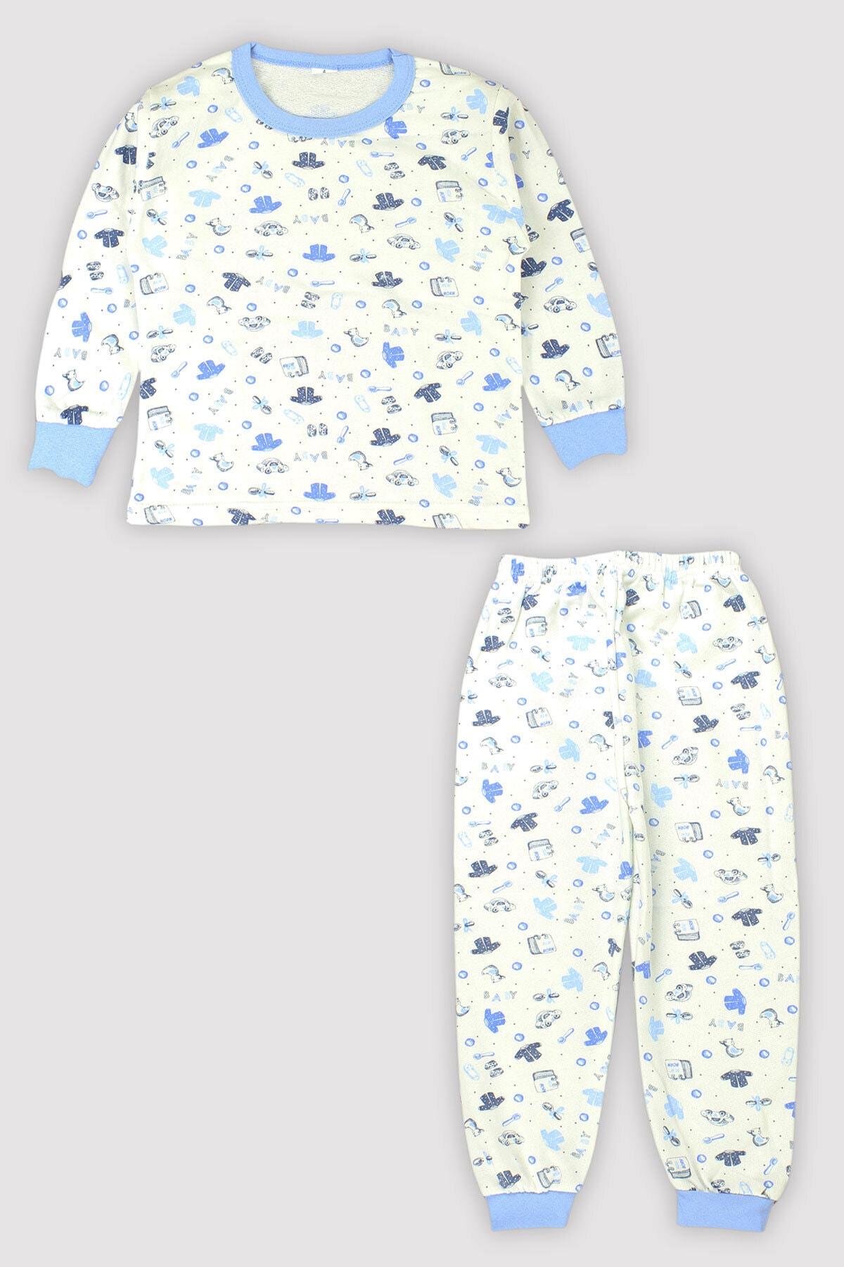 Peki 4 Mevsim Kız Erkek Çocuk Karışık Baskılı %100 Pamuk Pijama Takım 9546 1