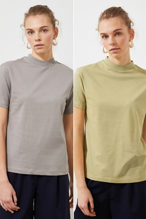 TRENDYOLMİLLA Yağ Yeşili Ve Gri Dik Yaka 2'li Paket Basic Örme T-Shirt TWOSS20TS1500