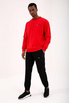 Tommy Life Kırmızı-Siyah Erkek Casual O Yaka Oversize Lastik Paça Eşofman Takımı - 85120