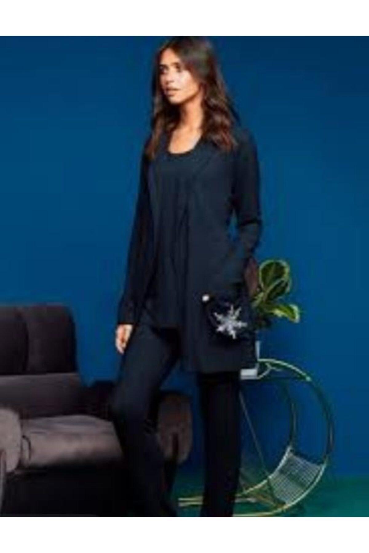 Penyemood Kadın Lacivert Pijama Takımı 3 Parça Büyük Beden 8653 1